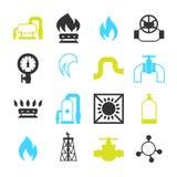 Naturgasproduktion, injektion och lagring inställda objekt stock illustrationer