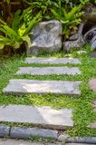 Naturgehweg im Landgarten Chachoengsao Thailand Lizenzfreie Stockfotos