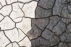 Naturhintergrund, Grenze des trockenen und nassen gebrochenen Schlammes Konzept von Gegenteilen, von Dunkelheit und von Licht Lizenzfreie Stockfotos