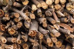 Naturholzhintergrund, Nahaufnahme Das Brennholz wird für den Winterstapel von hölzernen Klotz gelegt und vorbereitet Stockfoto
