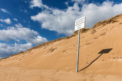 Naturist space sign. On the Sauveterre beach in Olonne-sur-mer France stock photo