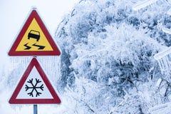 Naturkatastrof: den farliga och iskalla vägen med regnar snöslask dolda träd Royaltyfri Fotografi