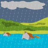 Naturkatastrophe-Illustrations-Vektor Art Logo Template lizenzfreie abbildung