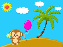 Naturkonzept mit dem Affen, der Banane hält und Ballon in der Insel setzen auf den Strand Stockbilder