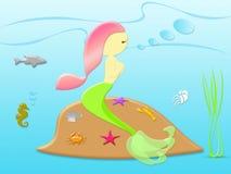 Naturkonzept mit schöner Meerjungfrau unter dem Meer Stockbilder