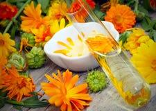 Naturkosmetik von der Ringelblume Lizenzfreie Stockfotos