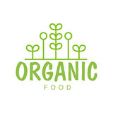 Naturkost-Grün-Logo Design Template With Geometric-Anlagen des strengen Vegetariers, die gesunden Lebensstil und Bioprodukte förd Stockbilder