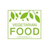 Naturkost-Grün-Logo Design Template With Square-Rahmen des strengen Vegetariers, der gesunden Lebensstil und Bioprodukte fördert Lizenzfreies Stockfoto