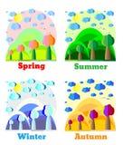 Naturlandschaft in der flachen Art Frühling, Sommer, Fall, Winter Beispiel für Karte, Fahne, Ausweis Lizenzfreie Stockfotos