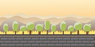 Naturlandschaft, Hintergrund für Spiele, Bäume, Berge Stockfoto