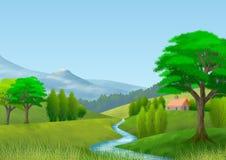 Naturlandschaft mit Berg, Bäumen, Hügeln, einem Fluss und einem Häuschen tapete Hintergrund lizenzfreie stockbilder