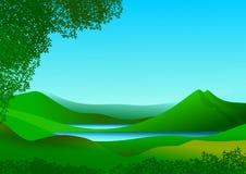Naturlandschaft mit Bergen und See von Ruhe und von Auffrischungswasser stockbilder
