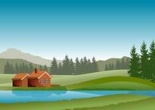Naturlandschaft mit blauem Himmel, grünen Hügeln, einem See und einer kleinen Kabine Auch im corel abgehobenen Betrag