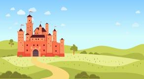 Naturlandschaft mit mittelalterlicher flacher Karikaturart des Schlosses und des copyspace stock abbildung