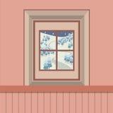 Naturlandschafts-Ansicht durch das Fenster Lizenzfreie Stockfotos