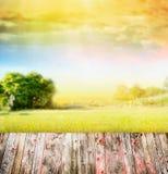 Naturlandschaftshintergrund mit Sonnenlicht, Baum, Himmel und Holztisch Stockfotos