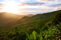 Naturlandskap av den Thailand solnedgången Adobebakgrund skapade illustratörlandskapprogramvara environ Arkivfoto