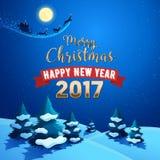 Naturlandskap för glad jul med Santa Claus Sleigh och renar på den månbelysta himlen Kort för hälsning för vinterferier vektor illustrationer