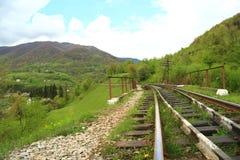 Naturlandskap med järnväg Arkivbild