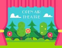 Naturlandskap- och teatergardiner Öppen luft och utomhus- teaterillustration Arkivfoton