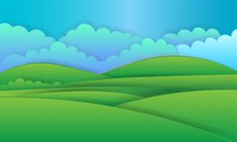 Naturlandskapbakgrund, cuted pappers- design vektor illustrationer