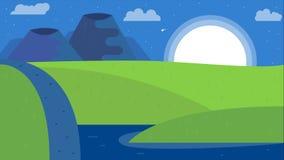 Naturlandskapbakgrund, gullig plan design royaltyfri illustrationer