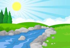 Naturlandskapbakgrund med den gröna ängen, berget och floden Arkivfoton
