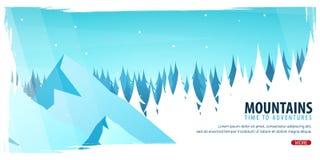 Naturlandskapbakgrund med konturer av berg och träd Illustration för vinterskogvektor vektor illustrationer