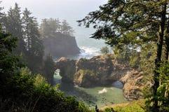 Naturlig bro nära den guld- stranden, Oregon Royaltyfri Bild
