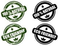 Naturlig/för Eco vänlig grungestämpel set stock illustrationer