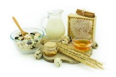 Naturlig frukost - myslit med mjölkar, ägg och honung Arkivfoto