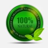 100% naturlig grön etikett som isoleras på white.vector Royaltyfri Foto