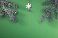 Naturlig grön julgran i snön på grön bakgrund lyckligt nytt år arkivbild
