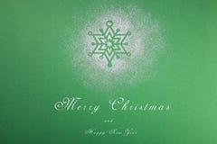 Naturlig grön julgran i snön på grön bakgrund lyckligt nytt år arkivbilder