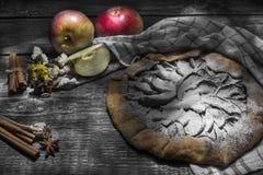 Naturlig hemlagad äppelpaj med art och äpplen på en trätabell arkivfoto