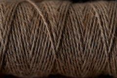 Naturlig jute tvinnar textur Slut upp av det vridna repet Arkivbild