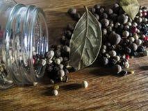 Naturlig krydda för svartpepparkorn royaltyfri fotografi