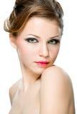 naturlig kvinna för attraktiv framsida Royaltyfri Bild