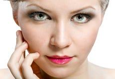 naturlig kvinna för attraktiv framsida fotografering för bildbyråer