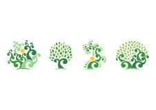 Naturlig logo för träd, grön design för vektor för symbol för symbol för trädekologiillustration Arkivbild