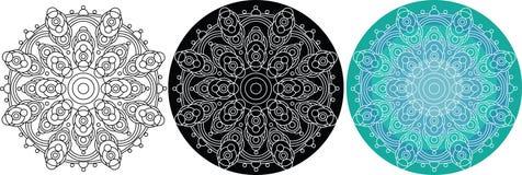 Naturlig mandala av cirklar för färgläggningbok mönstrad runt Royaltyfri Fotografi
