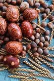 Naturlig ordning för påskägg med hasselnötter som stavas, aprikoskärnor valnötter Arkivfoton