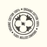 Naturlig organisk bomull, ren uppsättning för bomullsvektoretiketter Räcka utdragna typografiska stilsymboler eller emblem, klist royaltyfri illustrationer