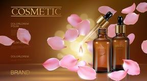 naturlig organisk kosmetisk annons för realistisk blomma 3d Omsorg för liten droppe för olja för framsida för extrakt för serum f royaltyfri illustrationer