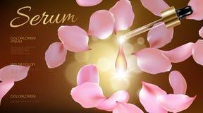 naturlig organisk kosmetisk annons för realistisk blomma 3d För serumextrakt för rosa rosa kronblad glass omsorg för liten droppe royaltyfri illustrationer