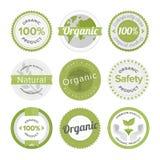 Naturlig organisk uppsättning för produktlägenhetetiketter Fotografering för Bildbyråer