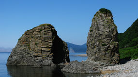 Naturlig port i udde Stolbchatiy arkivfoton