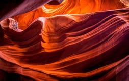 Naturlig skönhet av naturen i antilopkanjonen, Arizona, USA Textur av den red ut stenen Royaltyfria Bilder