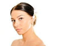 Naturlig skincareskönhet, mjuk hud för rengöring Spa arkivbild