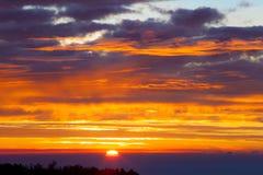 Naturlig solnedgångsoluppgång över fält eller äng Arkivfoto